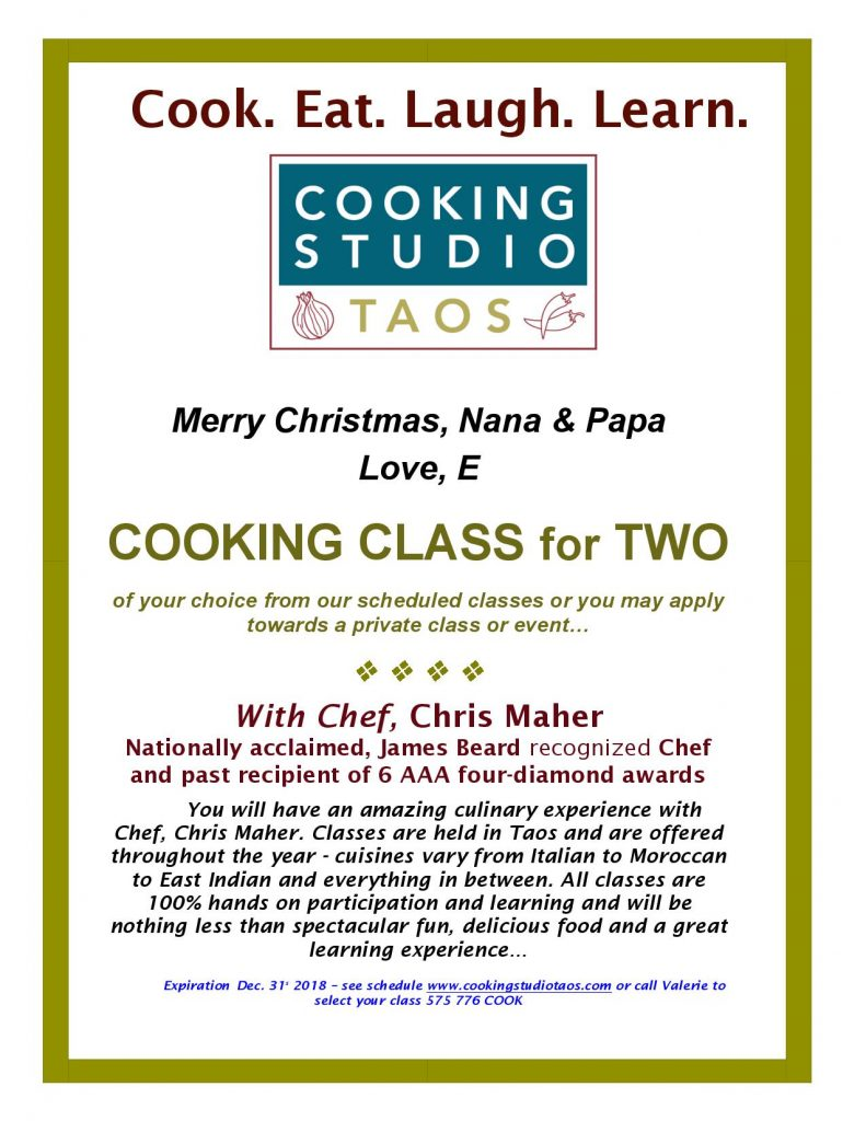 ift certificate for cooking studio taos
